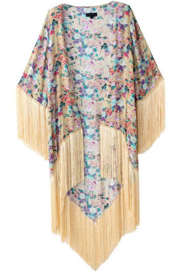 Kimono largo floral flecos-crudo 18.13
