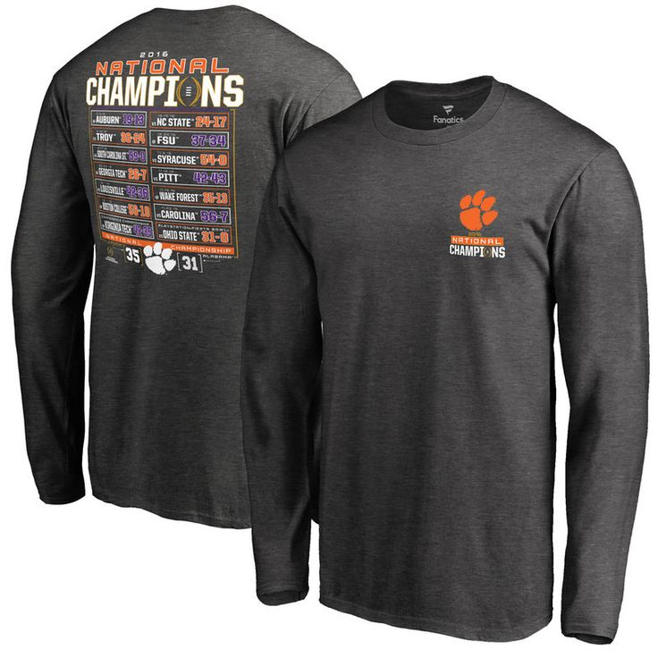 Clemson Tigers Fanatics Branded College Football Playoff 2016 National Champions Schedule Long Sleeve T-Shirt - Charcoal