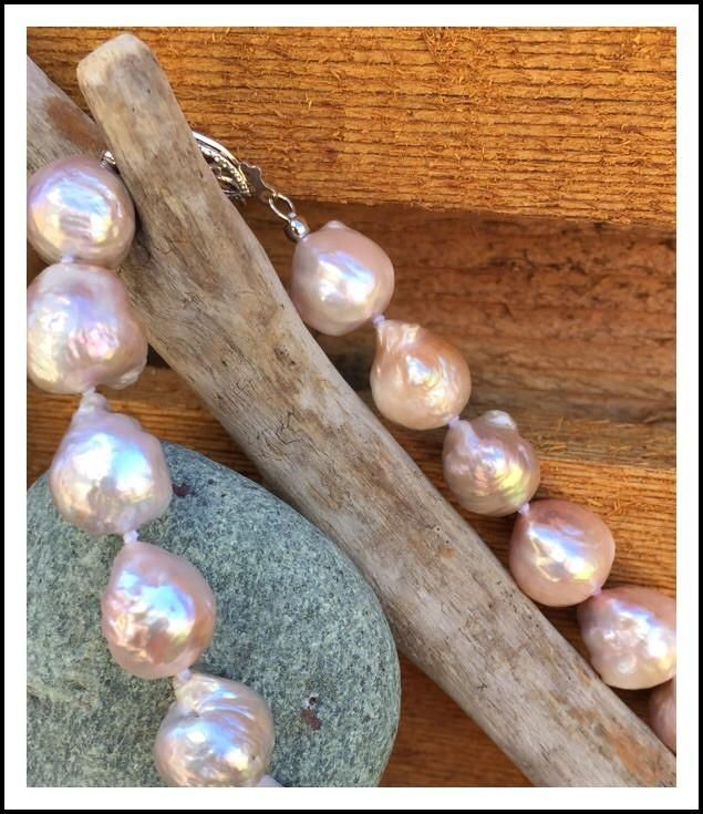 Pink and Lavendar Rainbow Ripple Pearl Necklace