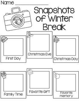 SNAPSHOTS OF WINTER BREAK- FREEBIE - TeachersPayTeachers.com