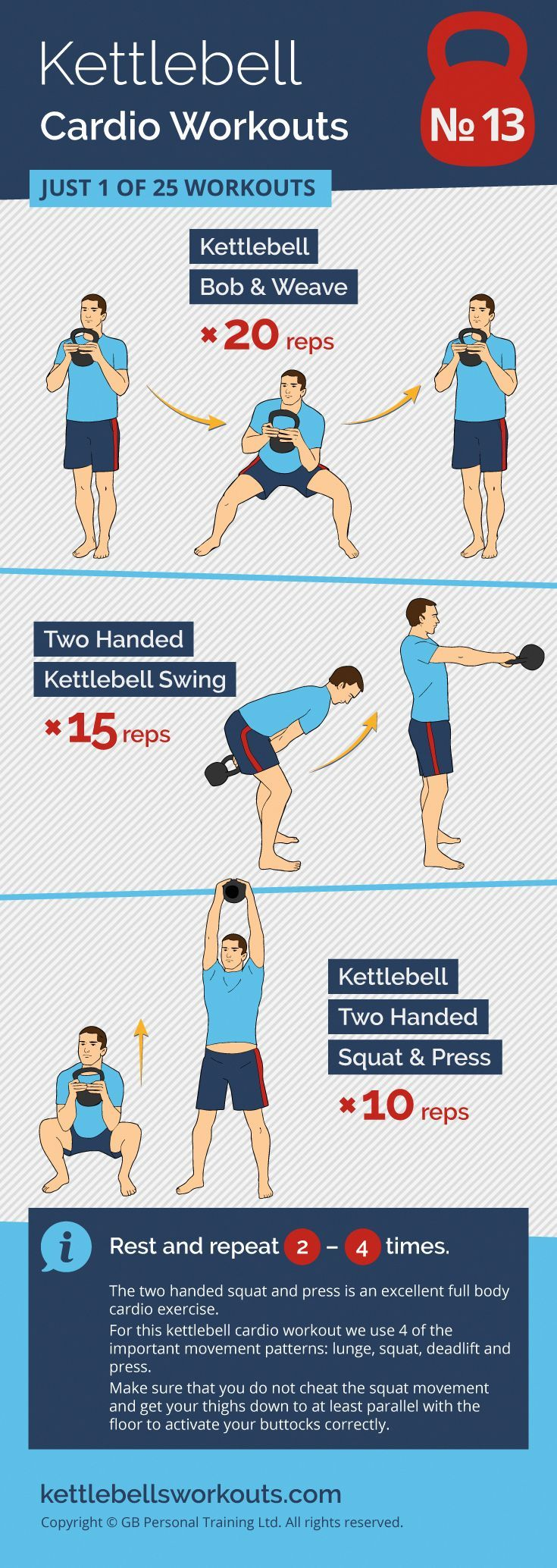 The two handed kettlebell squat and press is an excellent full body cardio exerc…