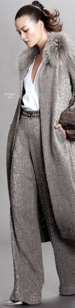 Yule style!! Noel Christmas! New Year's Eve!! GRAY AND SILVER!! gorgeous elegant gray pants and wood sweater coat! With simple white blouse shirt! Put your hair up and wear a pale silvery lipstick! Gorgeous!! Imagine arriving at a New Year's Eve Party in this outfit! Dennis Basso - Pre-Fall 2018