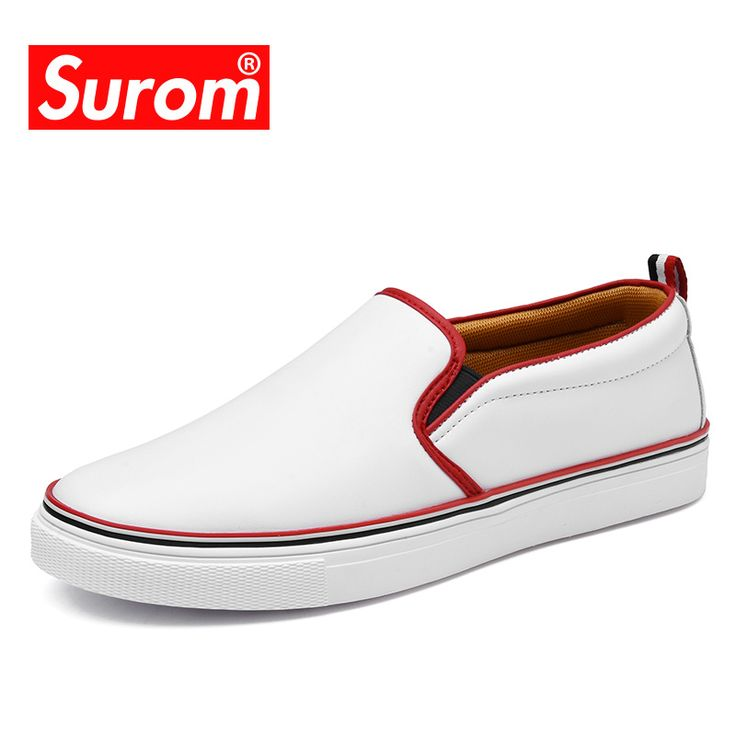 SUROM Fashion Simple Men's White Loafers Leather Casual Shoes Men Comfortable Walking Shoes Platform Flats Slip on Shoes Sneaker. Yesterday's price: US $26.15 (21.52 EUR). Today's price: US $26.15 (21.69 EUR). Discount: 59%.