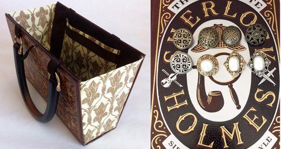 Sherlock Holmes libro monedero con tela de fondo por NovelCreations