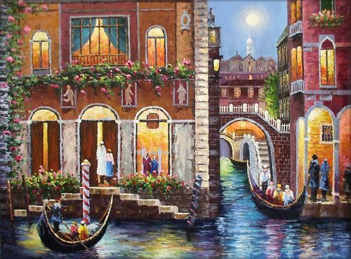 Museum Q Hand Painted Oil Painting Venice Waterway and Gondolas | eBay