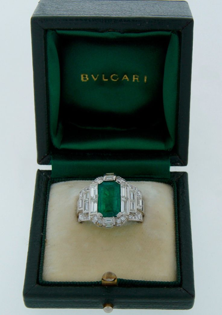 1960s BULGARI BVLGARI 3.07-ct EMERALD DIAMOND PLATINUM RING Signed Original Box