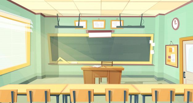 Download Cartoon Background With Empty Classroom Interior Inside For Free Cartoon Background Classroom Interior Classroom Background