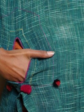 Green Panelled Stitch Detailed Khadi Kurta
