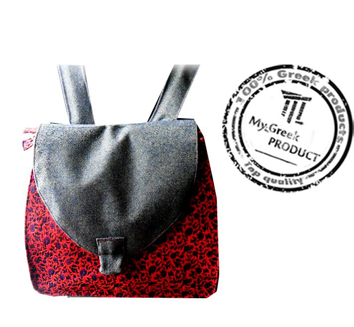 Handmade stylish red fabric backpack with extra lining. Find it only at My Greek Product