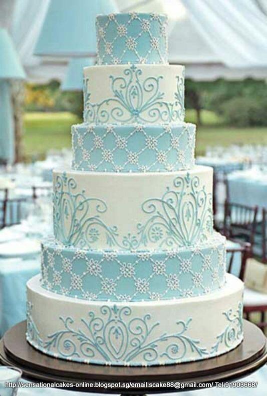TIFFANY BLUE WEDDING CAKES TIFFANY BLUE SILVER 6 TIER