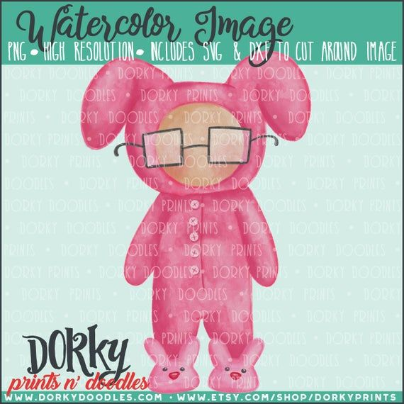Pink Bunny Pajamas Watercolor PNG Artwork – Digital File – for heat press, planners, cookies, and cr