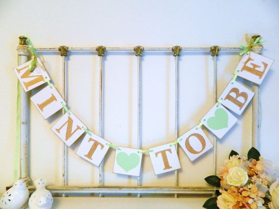 Mint to Be Banner Gold & Mint Bridal shower by anyoccasionbanners
