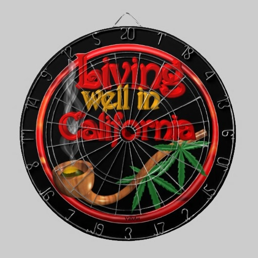 Valxart's Living well in California  100+ product Dart Board  See more cannabis/marijuana art by Valxart.com at http://zazzle.com/valxartmedicalpot*  See Valxart.com  Dart boards & dartboard  games at http://pinterest.com/valxart/dartboards-darts-make-customize-or-buy-valxart-dar/