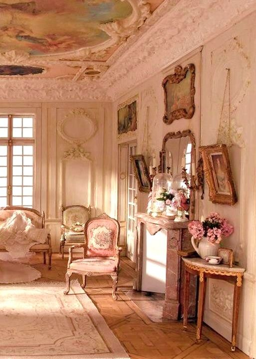 Pink French Fantasy - gorgeous dollhouse miniature living room scene. I love this, but imagine its polar opposite -- all gothed out and creepy.