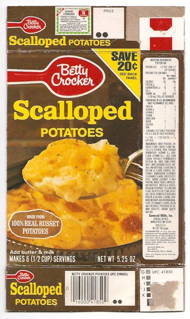 Old Betty Crocker General Mills Scalloped Potatoes Box by gregg_koenig, via Flickr