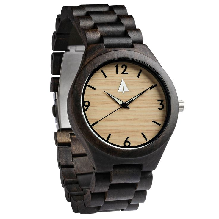 This ebony wood watch has a genuine wood band, a lavish bamboo face, and is handmade in San Francisco. Personalized engraving available. Great anniversary, wedding, or just-because gift idea!