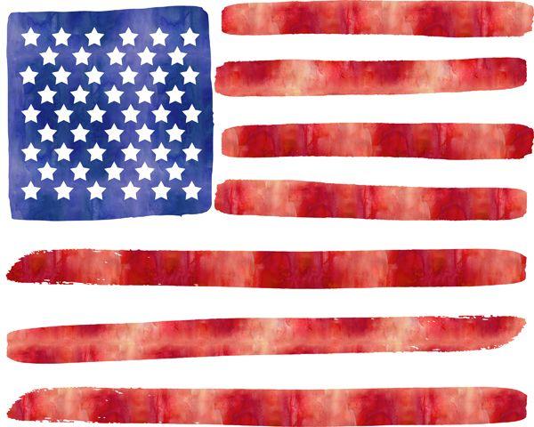 Watercolor American Flag from Sweet Rose Studio