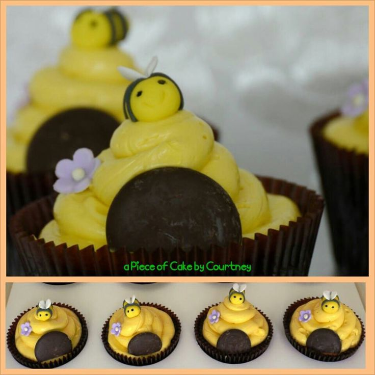 Beehive cupcake bees