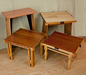 making small tables from recycled materials
