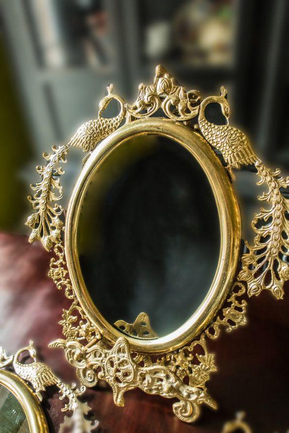 Vintage Brass Peacock ingelijste spiegels Set door InventifDesigns