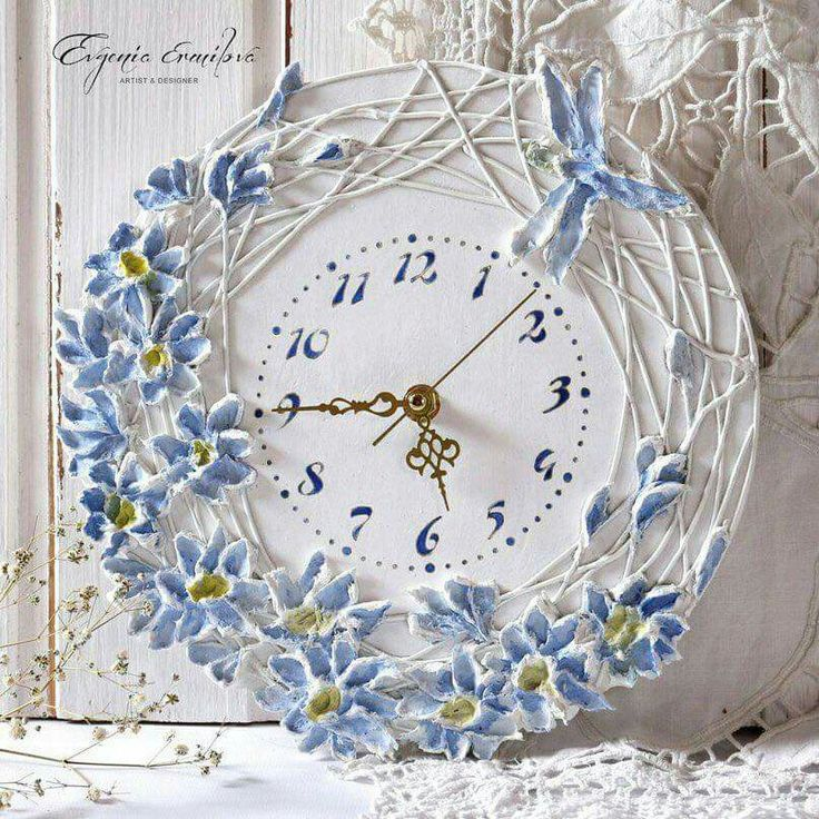 Charming Clock Craft, Diy Clock, Clay Art, Decoupage Art, Decoupage Ideas, Ps,  Quilling Craft, Paper Quilling, Sculptures Murales