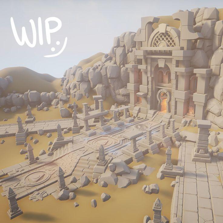 Desert Temple - WIP01, Tobias Koepp on ArtStation at https://www.artstation.com/artwork/x2K61