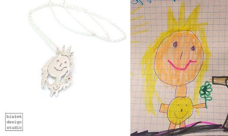 Personalized Jewelry | Children's Drawings Inspired Jewelry Made By The Polish Artist Bialek Design Studio | https://www.facebook.com/bialekdesignstudio/