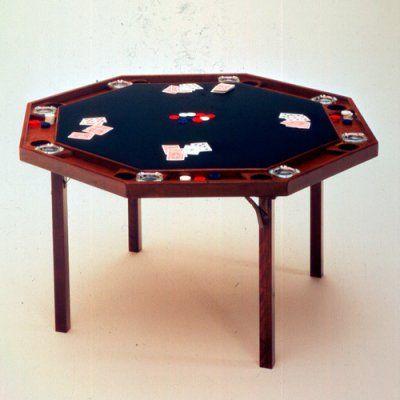 Kestell 83 Contemporary Folding Poker Table - 52 Inch - O-83-F SPANISH OAK/BURGUNDY FABRIC, Durable