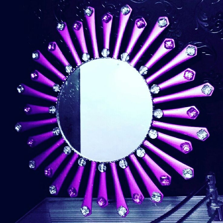 Handmade Purple Spoon Mirror Wall Decor Plastic WarePlastic CraftsPlastic