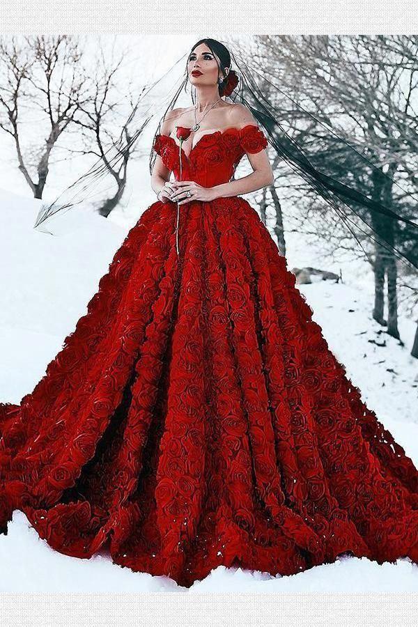 Custom Made Absorbing Wedding Dress Red, Plus Size Wedding ...