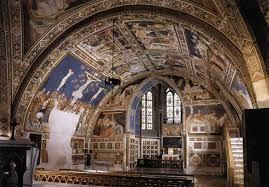пьетро лоренцетти, южный трансепт нижней церкви сан-франческо в ассизи, синий фон.многофигурность, тесность,детали