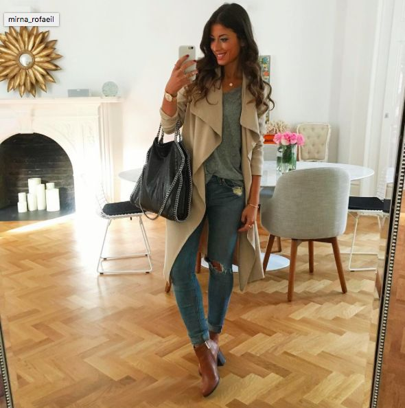Mimi Ikonn | Classic khaki trench coat with ripped, light-wash skinny jeans, grey T-shirt, tan booties, & Stella McCartney Falabella shoulder bag. | OOTD