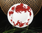 Fitz and Floyd Red Temple Dragon Plate / Porcelain / Dated 1975. shop for Vintage items @successionary store on etsy