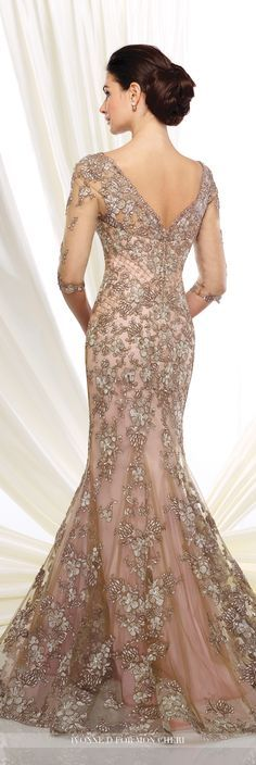 Formal Evening Gowns by Mon Cheri - Fall 2016 - Style No. 216D52 - taupe and pink tulle and lace evening dress with 3/4 length illusion sleeves