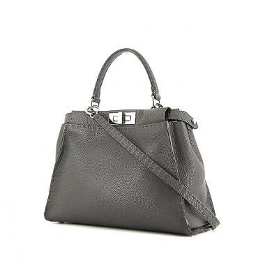 Bolso de mano Fendi Peekaboo Selleria modelo mediano en cuero granulado gris