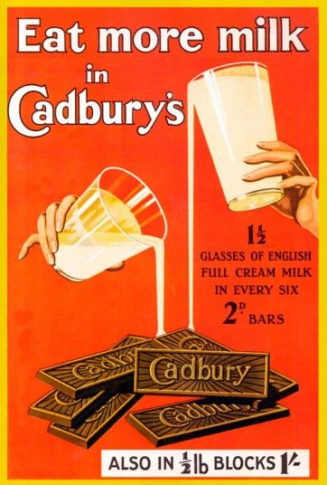 Cadbury's, 1920s Cadbury's has been milking (sorry) its calcium content for the best part of a century.