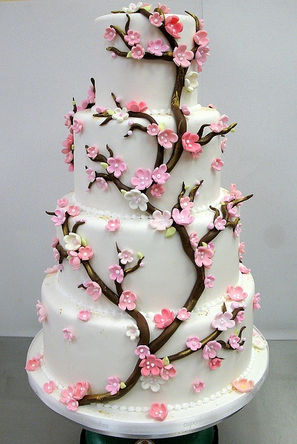 Cherry Blossom Wedding Cake with gold luster highlights & wired branches for a 3D effect.