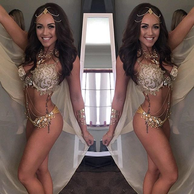 We're seeing DOUBLE  OMG we ❤️ this gorgeous Goddess in our Flower Power gold bottoms!  Luxe fabric bottoms adorned in crystals and flowers  will be back in stock in two weeks and available for pre-order on our website