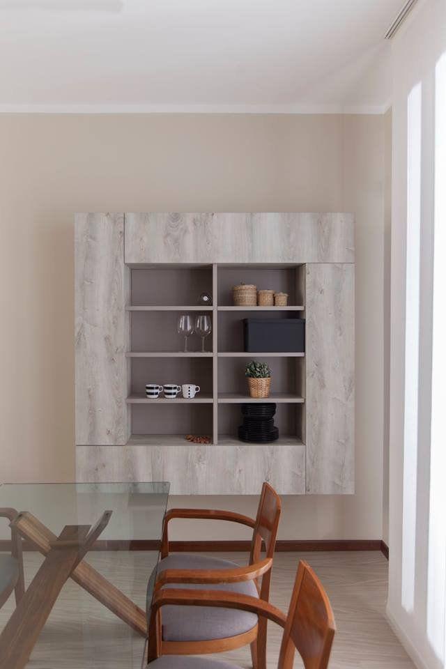Credenza sospesa #Semprelegno su misura: legno particolare di olmo invecchiato decapato grigio dal aspetto singolare. #vintage #design #home