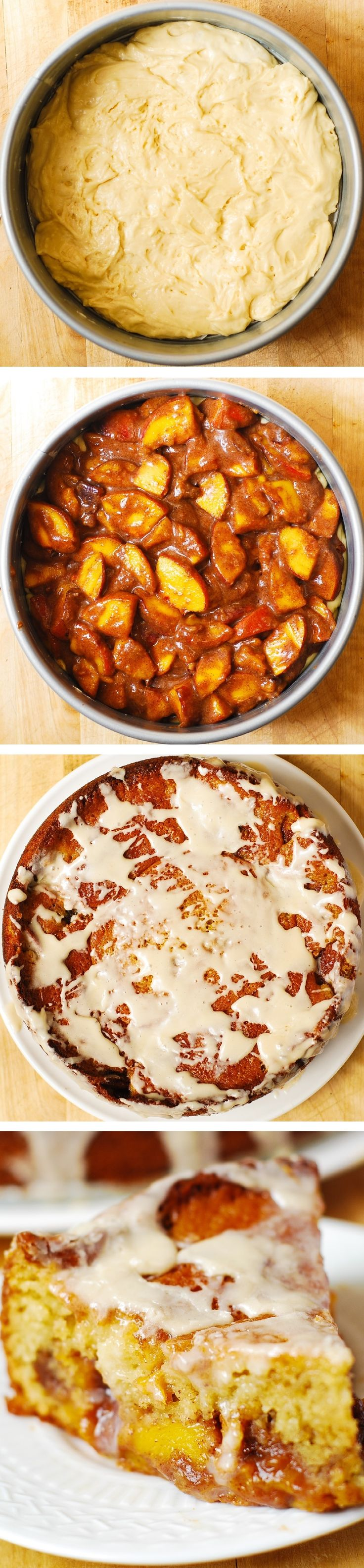 Cake with Vanilla Glaze - lots of peaches with brown sugar, cinnamon ...