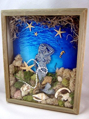 3d Mixed Media Art Collage Mermaid Shadow Box Original