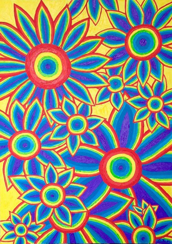 Sunflowers 50#70 Oil, Canvas #sunflower #colorful #positivism #rainbow #positivismart #olgakeles #modern #beautiful #painting #shape #flower #flora