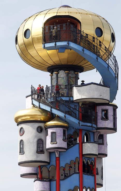 The Kuchlbauer Tower (German: Kuchlbauer-Turm) is an observation tower designed by Austrian architect Friedensreich Hundertwasser on the grounds of the Kuchlbauer Brewery in Abensberg, a town in Lower Bavaria in Germany. - Wikipedia