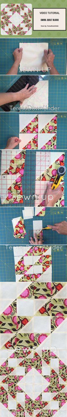 Swirl quilt block video tutorial