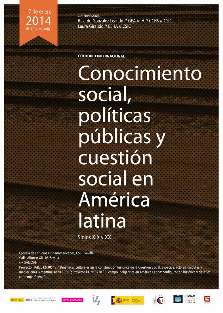 """Cartel diseñado por Julieta & Grekoff para el congreso """"Conocimiento social, políticas y cuestión social el América Latina"""" Realizado por el CSIC"""