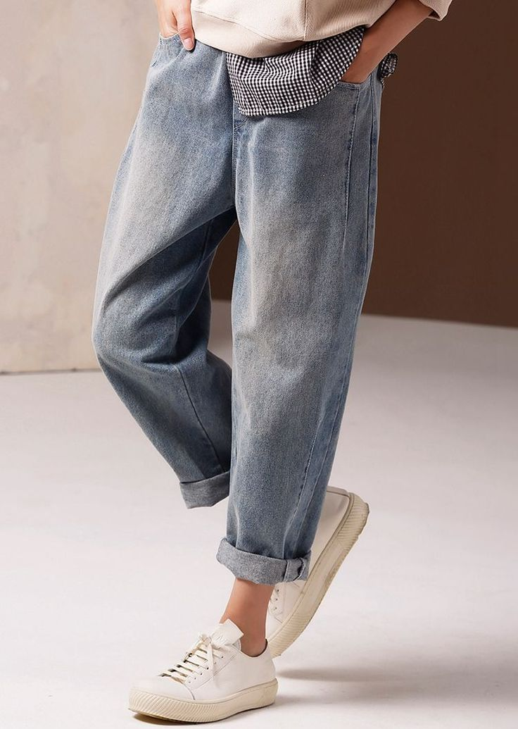 Great Vintage Casual Blue Cowboy Pants Women Spring Jeans N9900