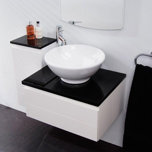 Vail Wall Mounted Basin Single Storage Unit A Stylish Contemporary High Gloss White Vanity