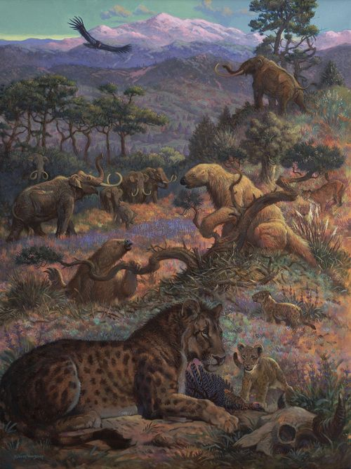 Lion's Share: Quarter Scale painting (Pleistocene Trilon w/ American Lion), William Stout