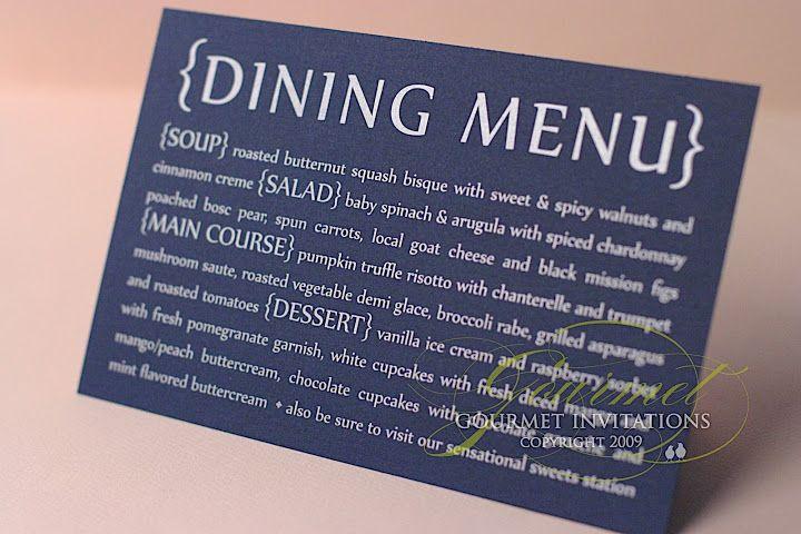 Navy menus with silver printing, silver ink on navy cardstock, menus, dinner menus, wedding dinner menu, wedding dining menu