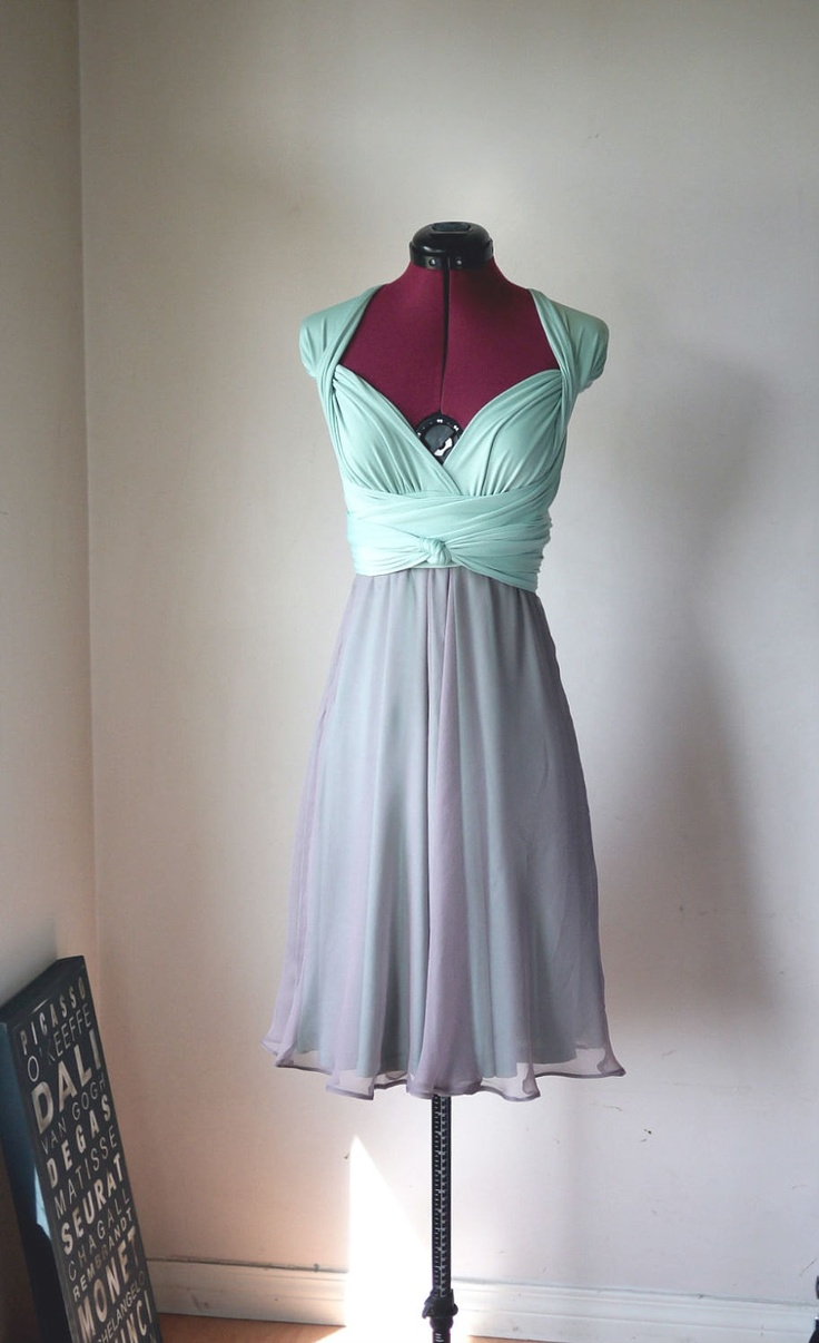 Convertible/Infinity Dress with Chiffon Skirt Overlay - Knee Length. $135.00, via Etsy.